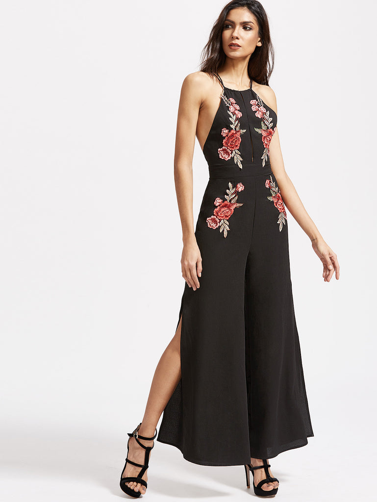 Black Embroidered Rose Applique Split Front Crisscross Back Jumpsuit