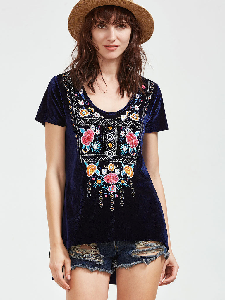 Navy Scoop Neck High Low Embroidered Velvet T-shirt