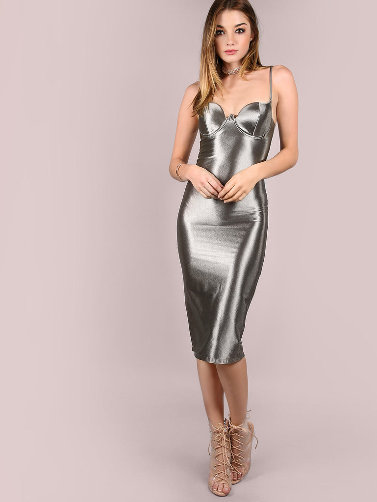 Grey Slit Back Bustier Cami Sheath Dress RZX