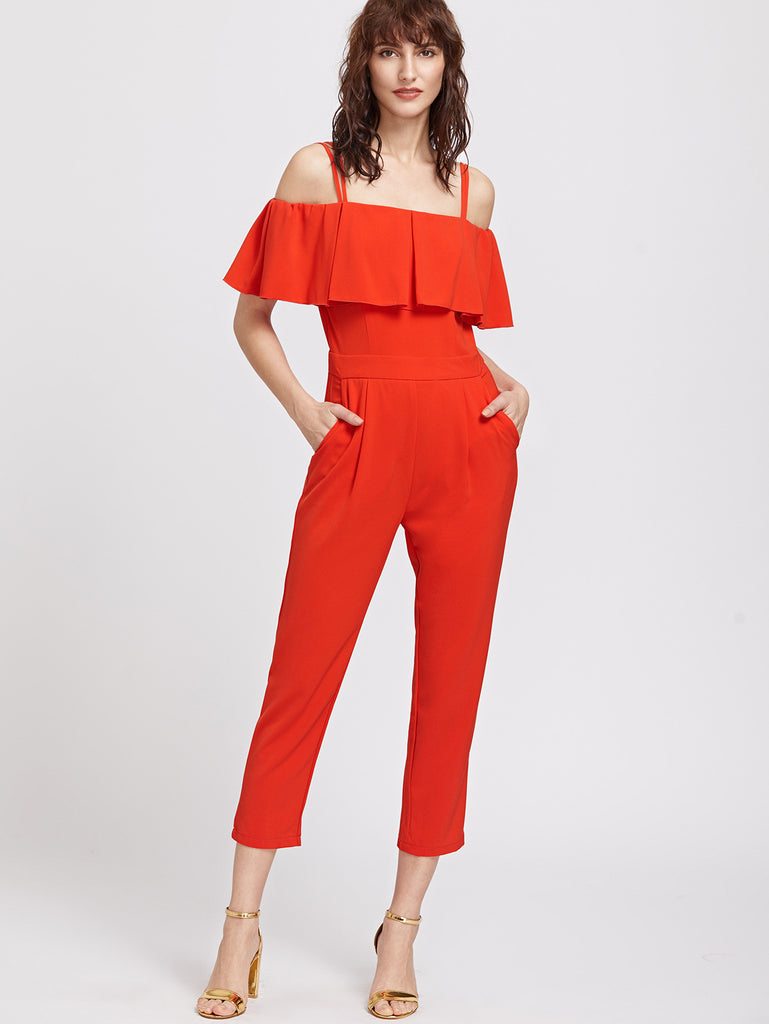 Red Ruffle Cold Should Capris Jumpsuit RZX