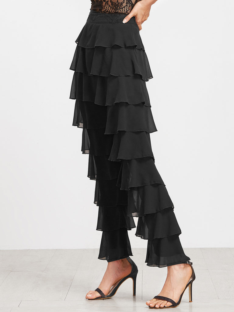 Black Layered Ruffle Pants