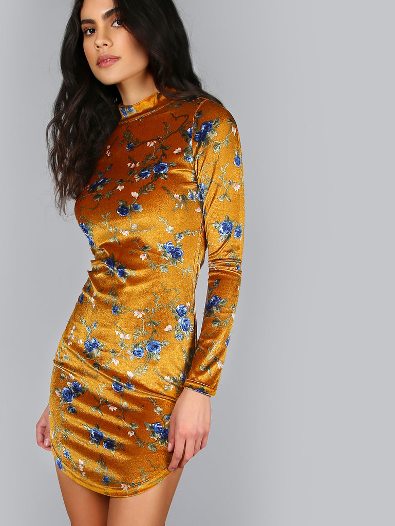 Yellow Floral Print Mock Neck Long Sleeve Bodycon Dress