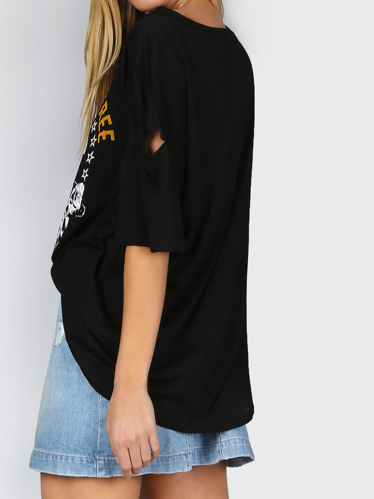 Distressed Skull T-Shirt BLACK