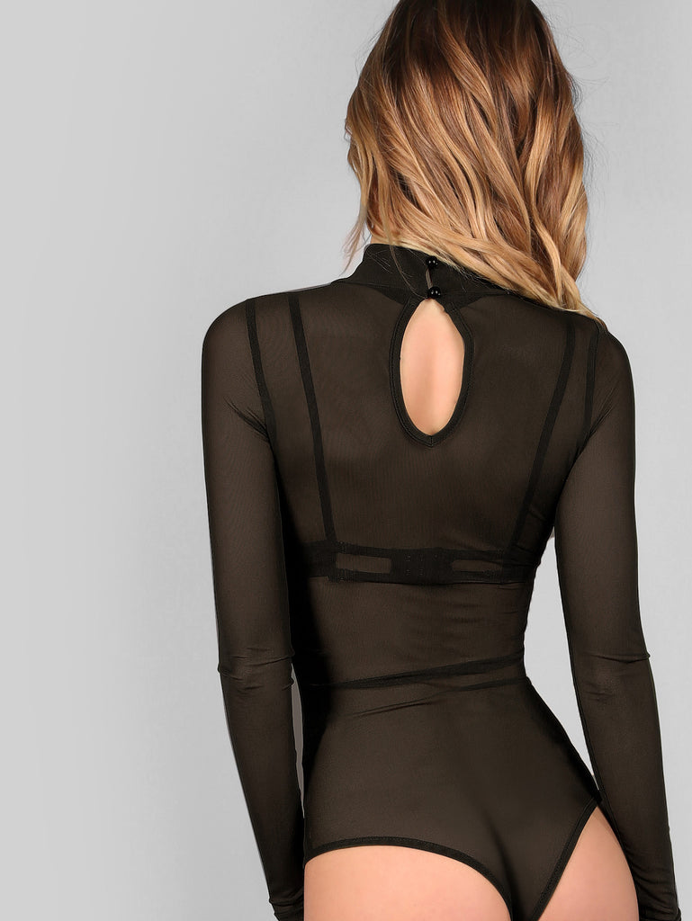 Mock Neck Long Sleeve Mesh Bodysuit BLACK