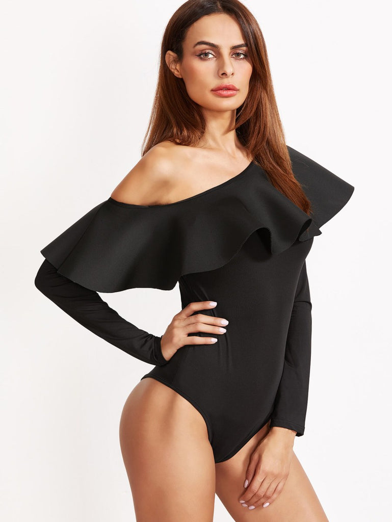Oblique Shoulder Frill Trim Bodysuit