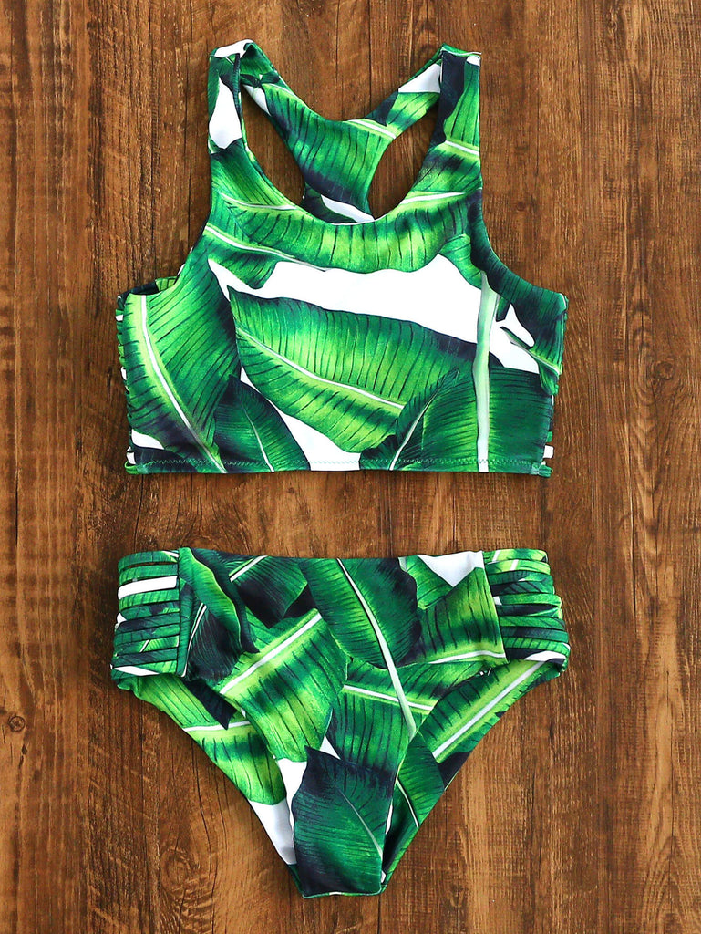 Leaf Print Ladder Cutout Racer Back Tankini