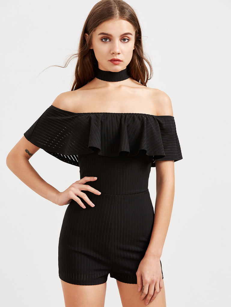 RZX Black Striped Ruffle Off The Shoulder Skinny Romper With Choker