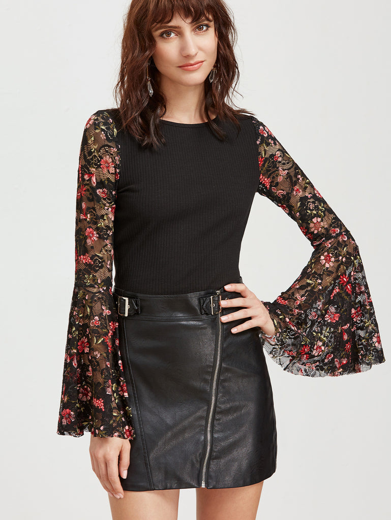 RZX Black Floral Lace Bell Sleeve Ribbed Top