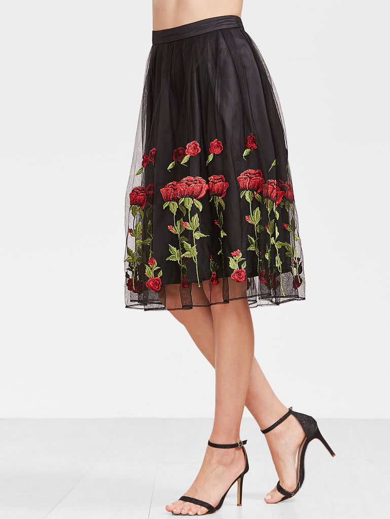 RZX  Black Rose Embroidered Mesh Overlay Box Pleated Skirt