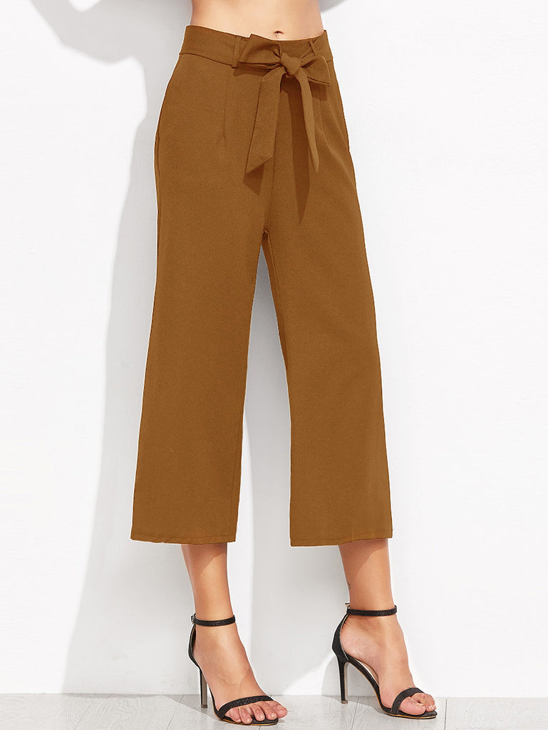 Brown Self Tie Wide Leg Pants RZX