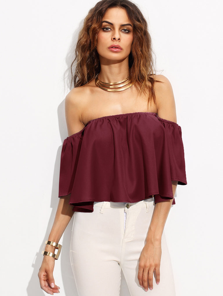 RZX  Burgundy Shirred Off The Shoulder Top