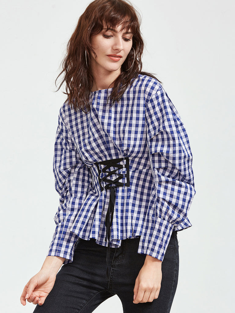 RZX Blue Checkered Puff Sleeve Lace Up Front Top