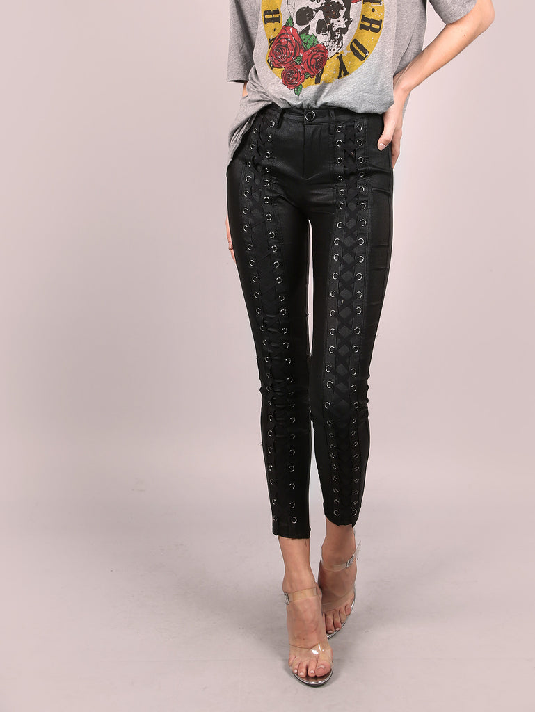 RZX  Coated Skinny Lace Up Pants BLACK