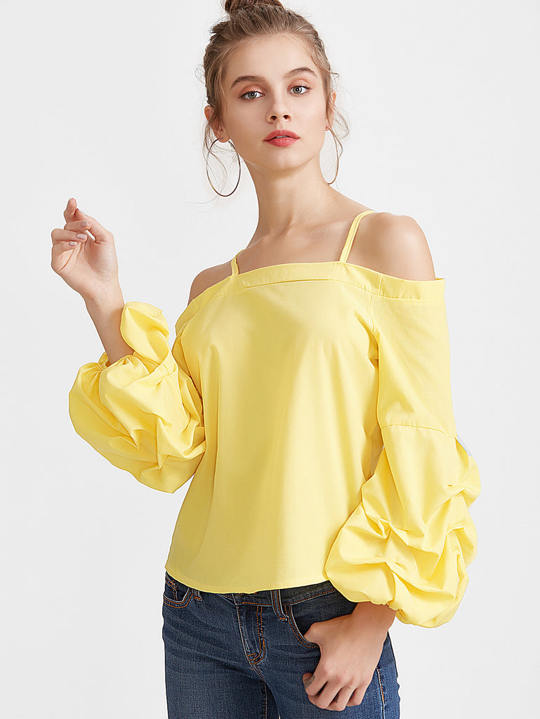 RZX Yellow Cold Shoulder Lantern Sleeve Top