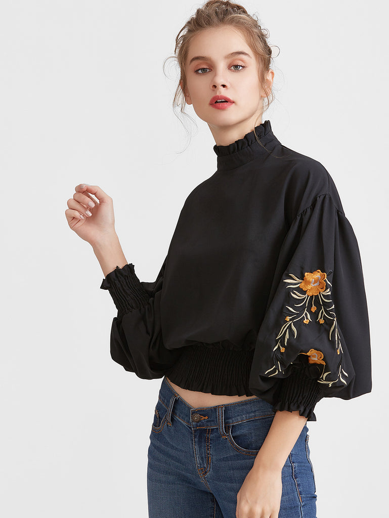 Black Flower Embroidered Lantern Sleeve Shirred Hem Blouse