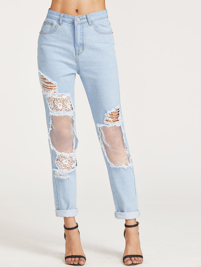 RZX  Bleach Wash Ripped Fishnet Lined Boyfriend Jeans