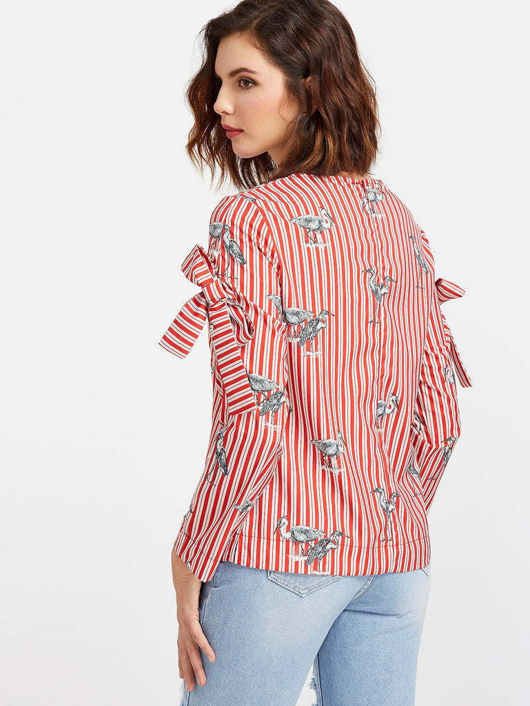 RZX Red Striped Crane Print Bow Embellished Blouse