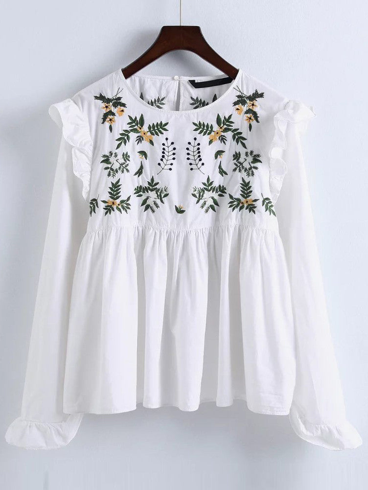 RZX  White Embroidery Ruffle Trim Pleated Blouse