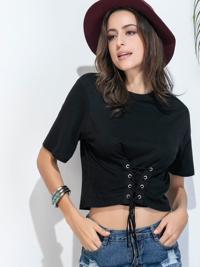 Black Eyelet Lace Up Hem T-shirt