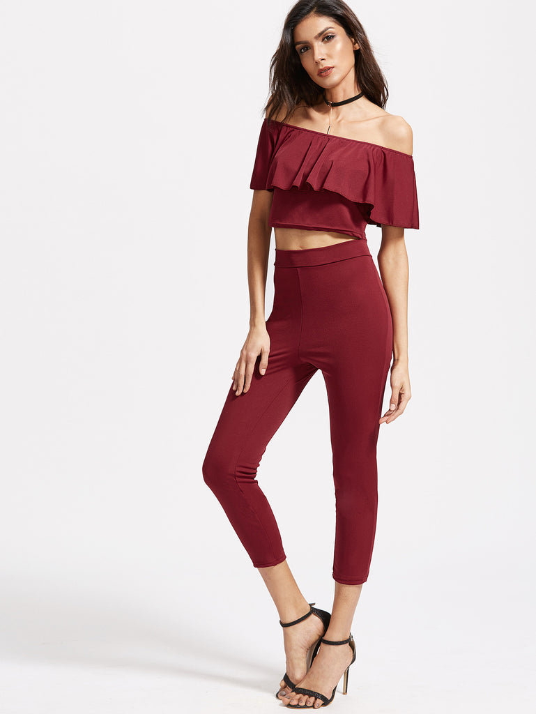 RZX  Burgundy Off The Shoulder Ruffle Trim Top With Pants