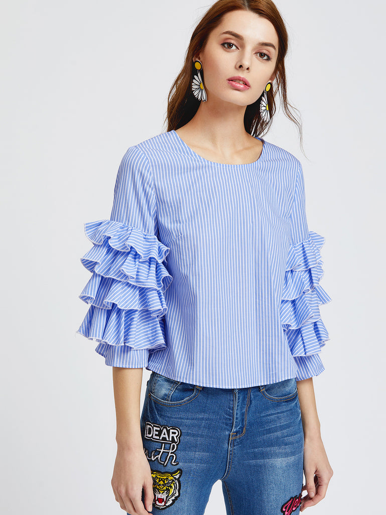 RZX Blue Striped Layered Ruffle Sleeve Top