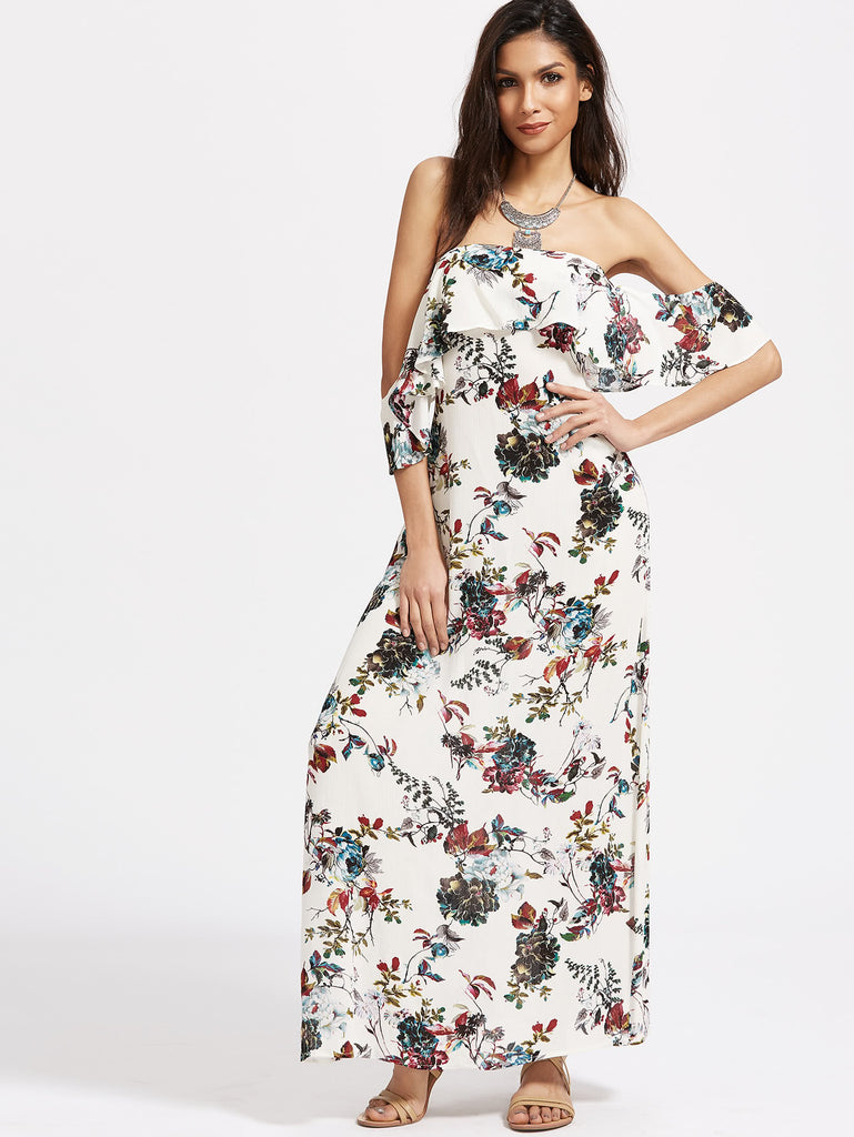 Flounce Layered Neckline Floral Print Cutout Back Dress RZX