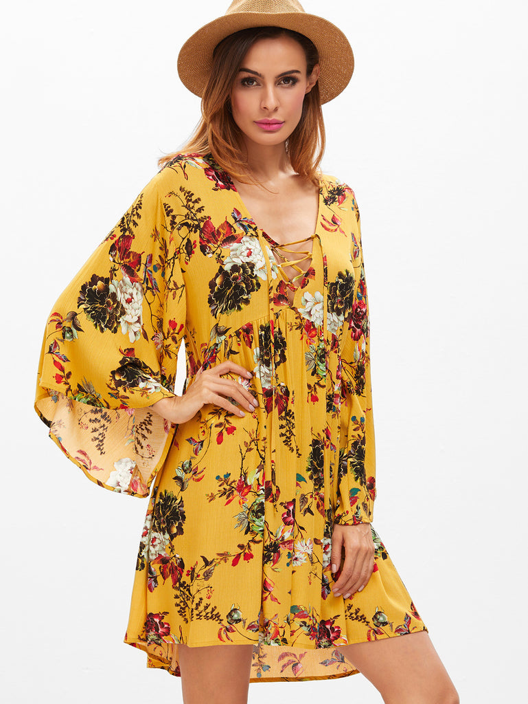 Yellow Flower Print Lace Up Plunge Neck Bell Sleeve Dress