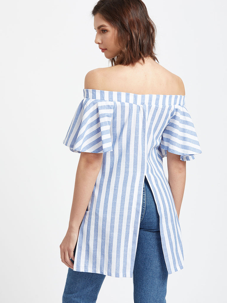 Blue Striped Off The Shoulder Embroidered Slit Hem Top  RZX