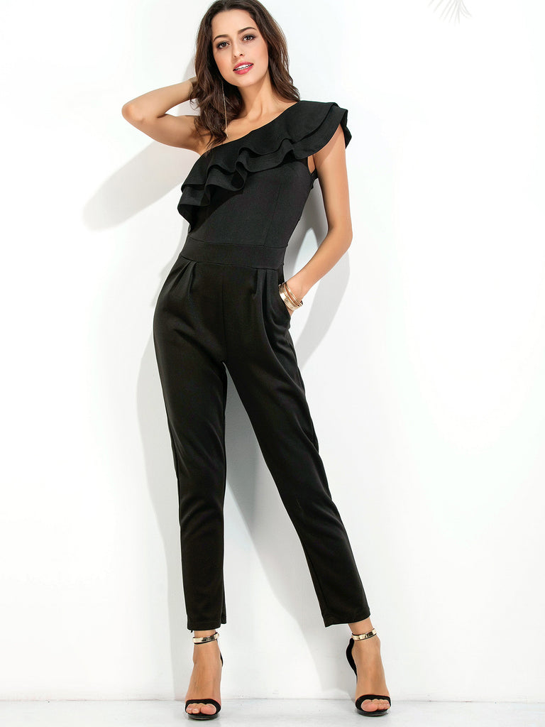 RZX Black Oblique Shoulder Ruffle Tiered Trim Jumpsuit