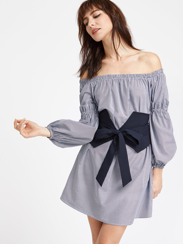 RZX Navy Striped Off The Shoulder Dress With Wide Belt