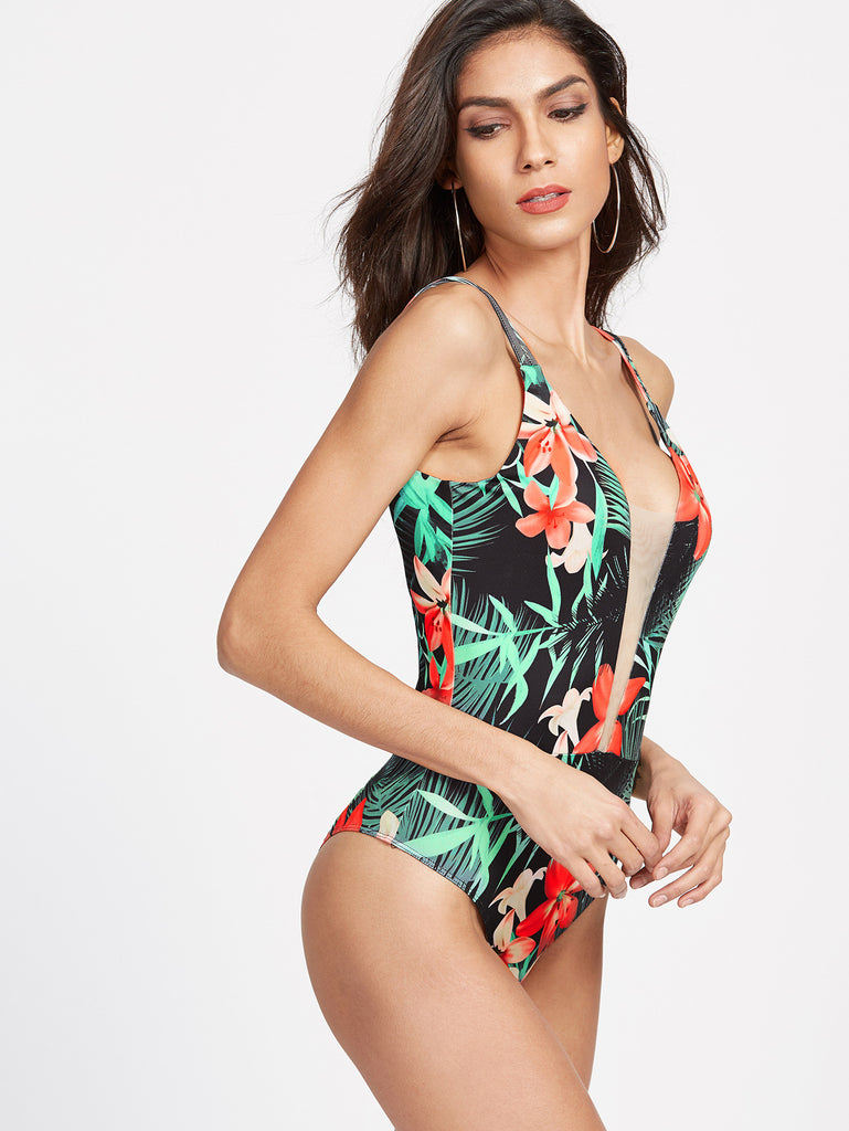 RZX Mesh Plunge Neck Crisscross Scoop Back Tropical Bodysuit