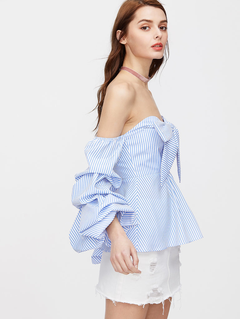 RZX Bow Sweetheart Ruched Sleeve Striped Peplum Top