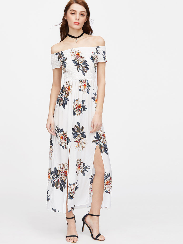 Flower Print Off Shoulder M-Slit Smocked Dress