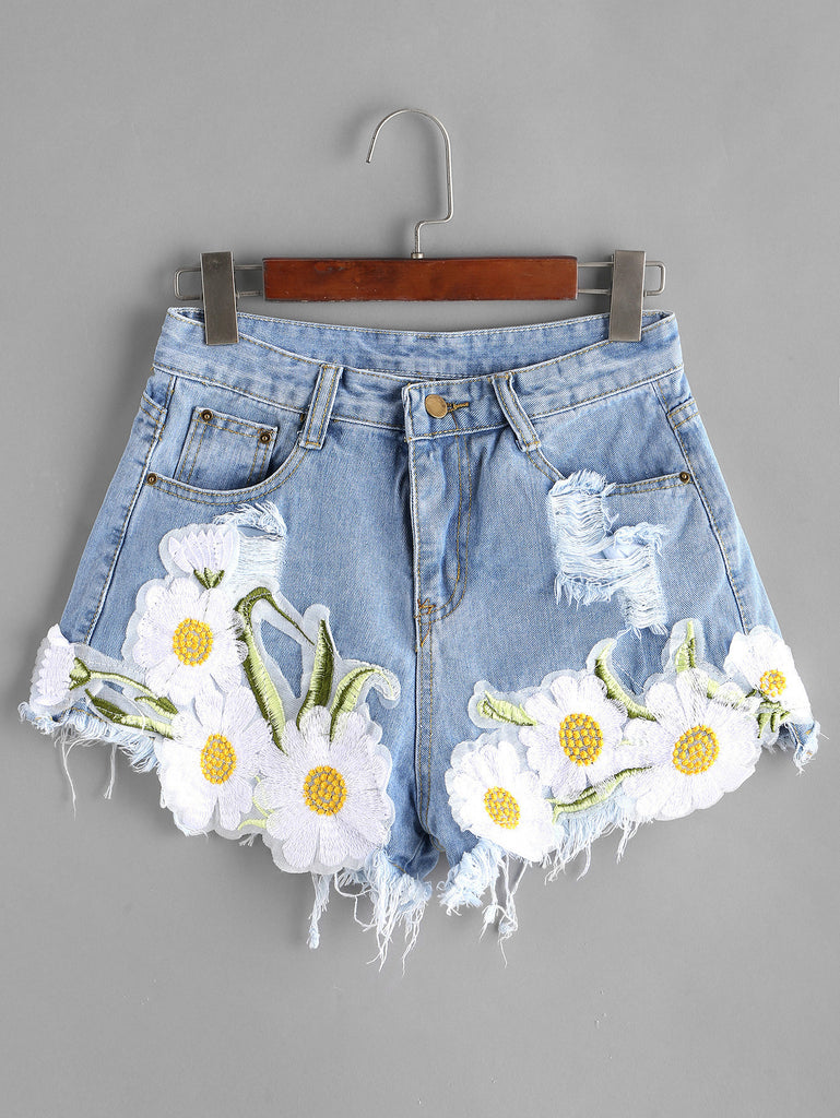 RZX Light Blue Ripped Appliques Raw Hem Denim Shorts