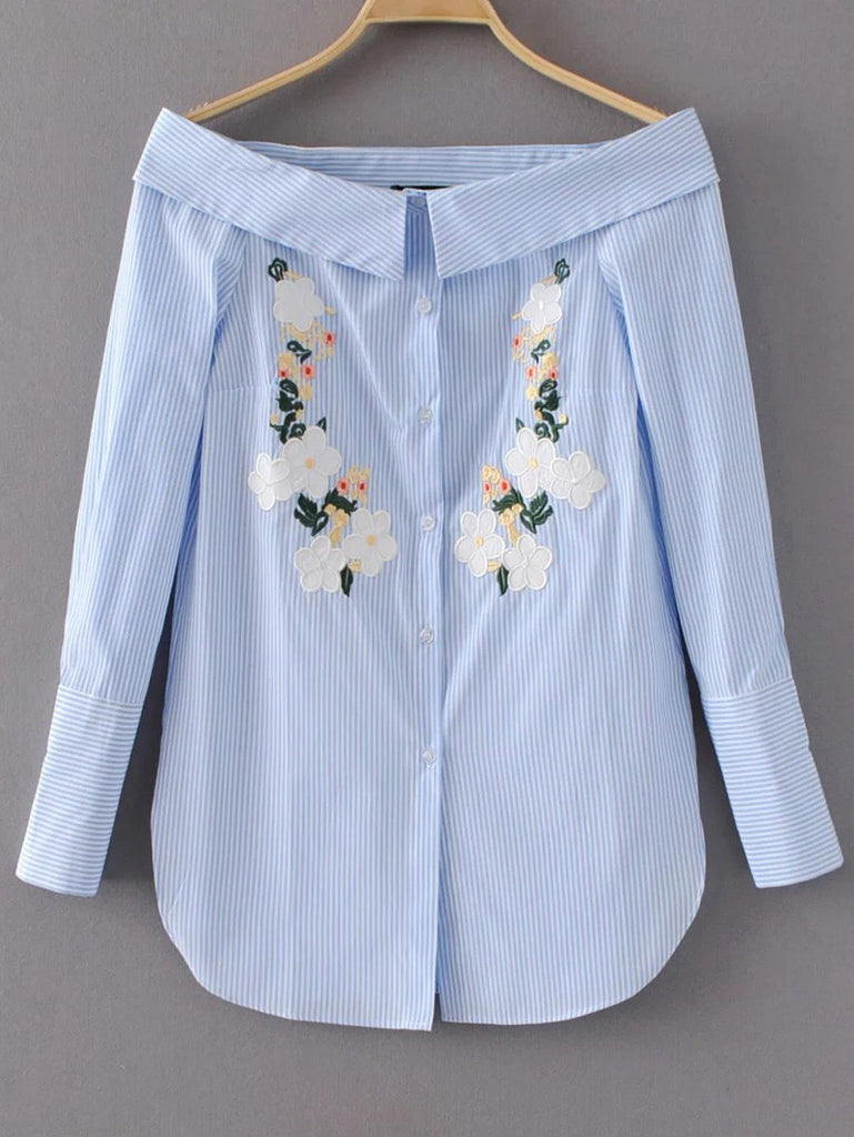 RZX Blue Vertical Striped Flower Embroidery Off The Shoulder Blouse