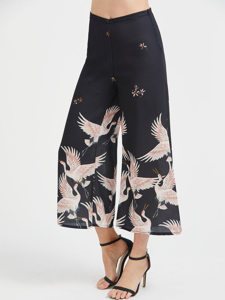 Black Crane Print Wide Leg Pants