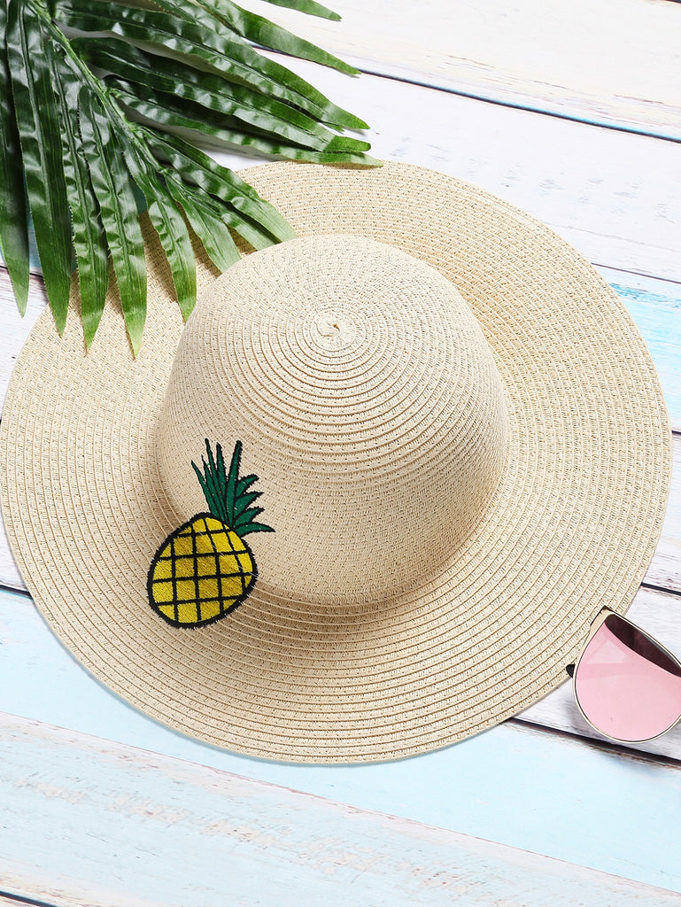 Beige Pineapple Embroidery Straw Hat