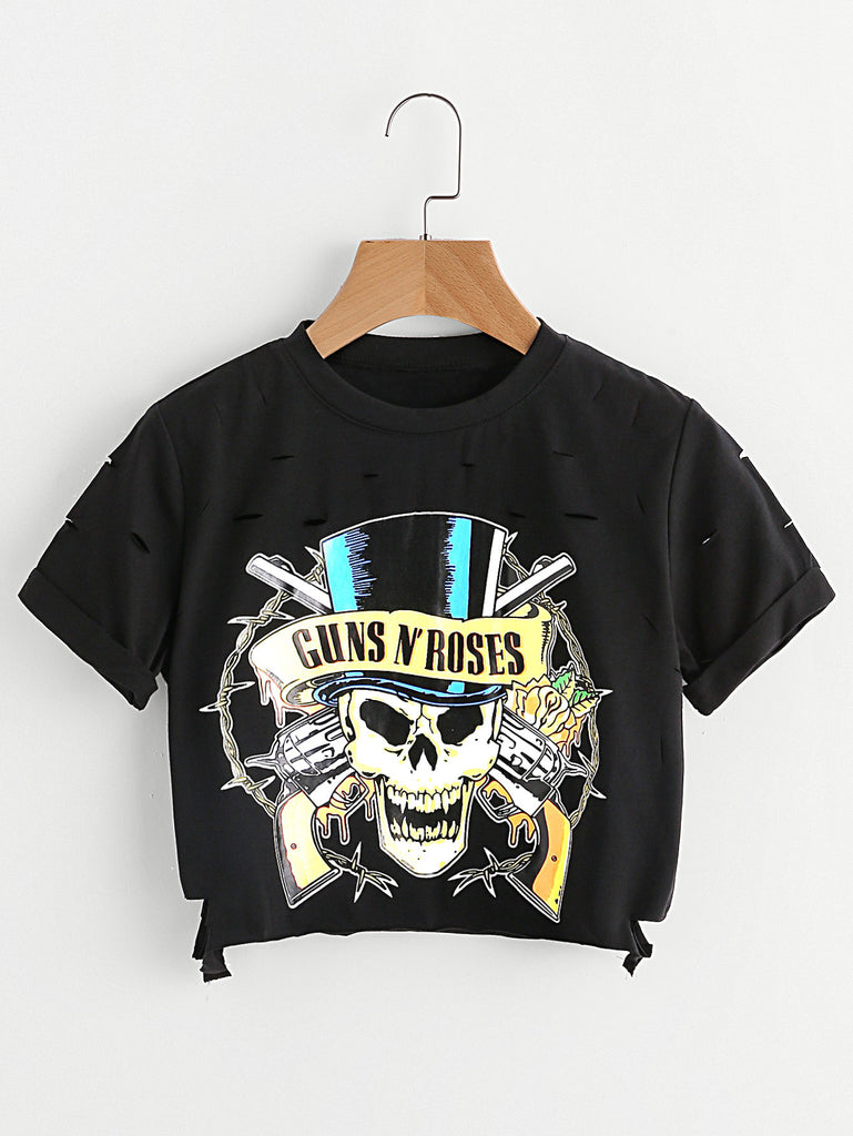 Skull Print Distressed Crop Tee