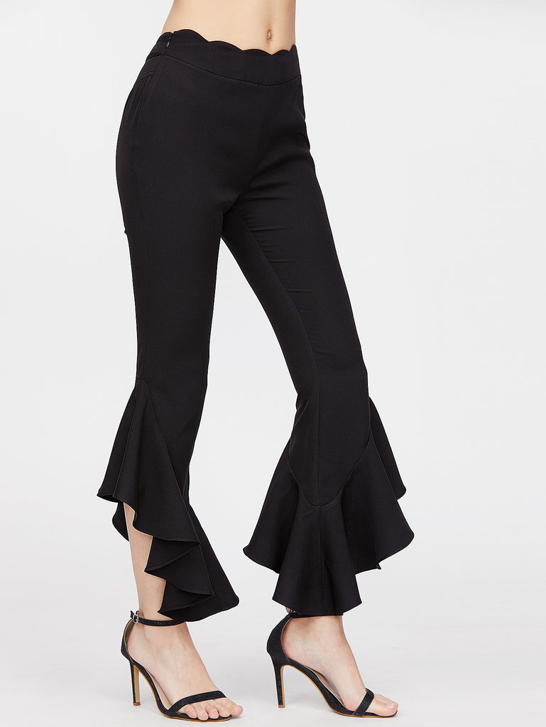 RZX Black Scallop Waist Ruffle Hem Crop Pants
