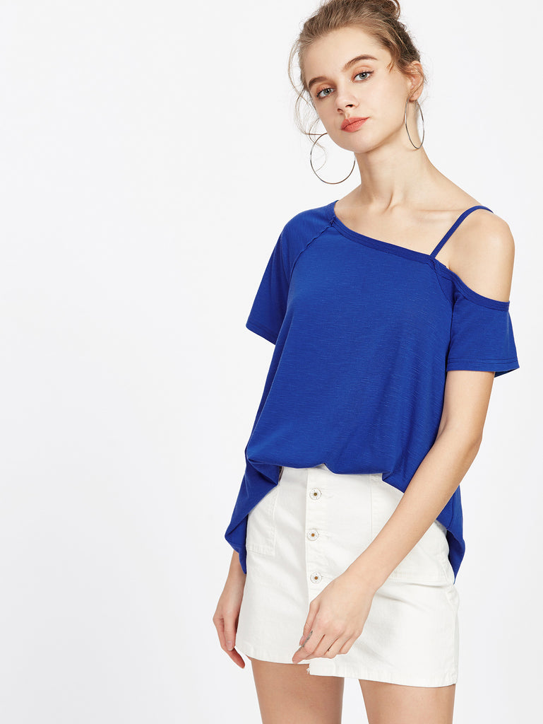 RZX Royal Blue Asymmetric Cold Shoulder Tee