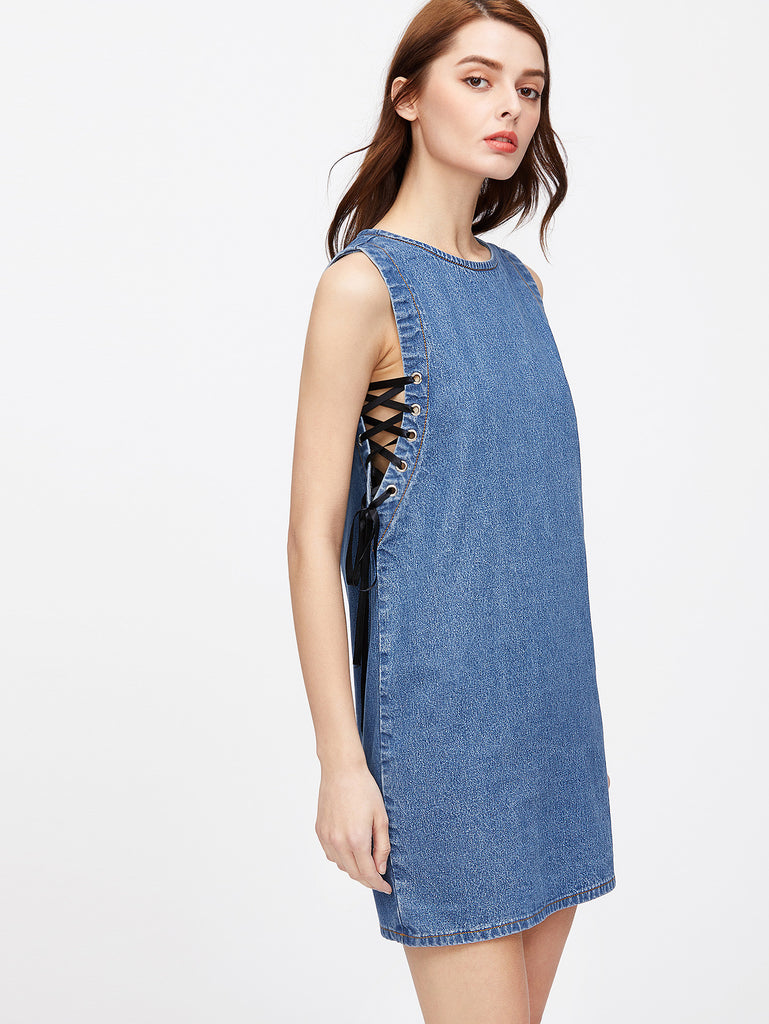 RZX Lace Up Grommet Zip Back Denim Dress
