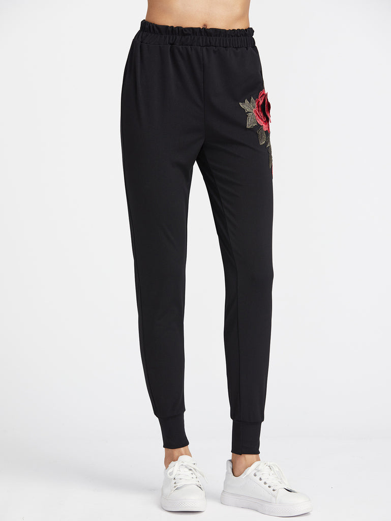 Black Embroidered Applique Pants