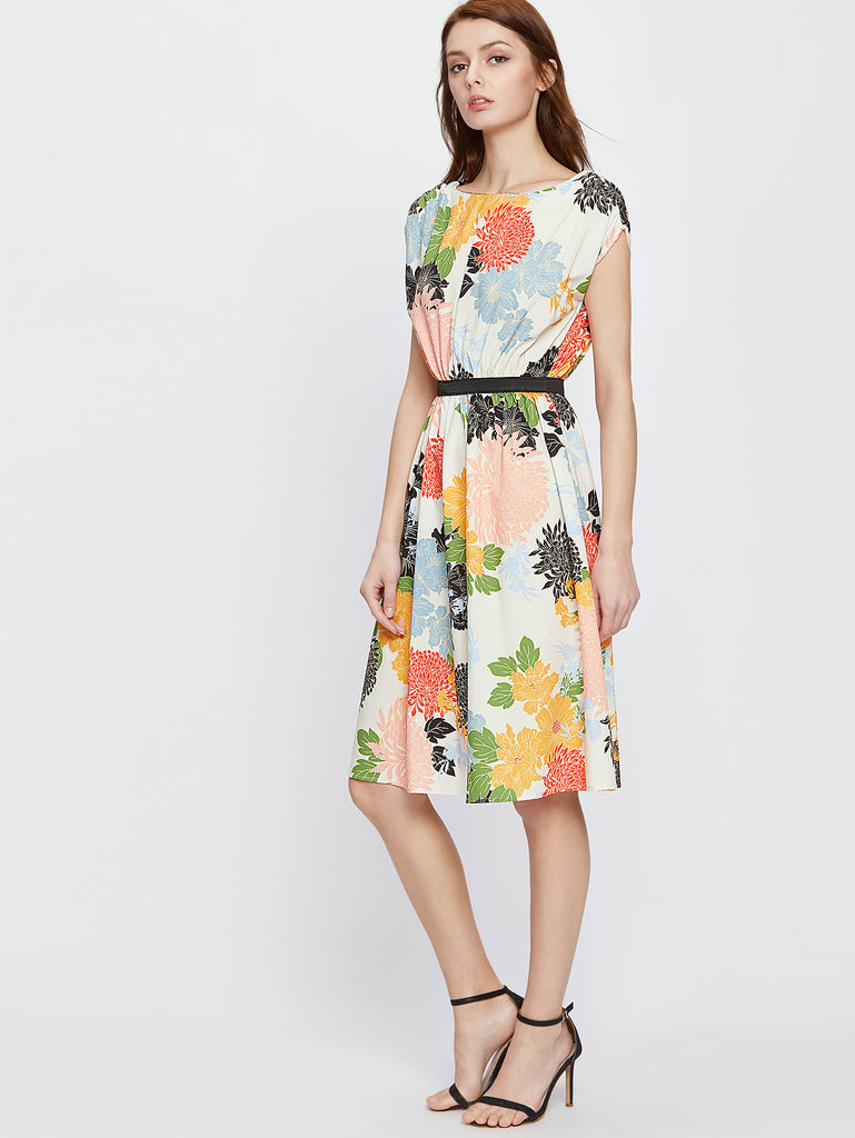RZX Multicolor Flower Print A Line Dress With Self Tie