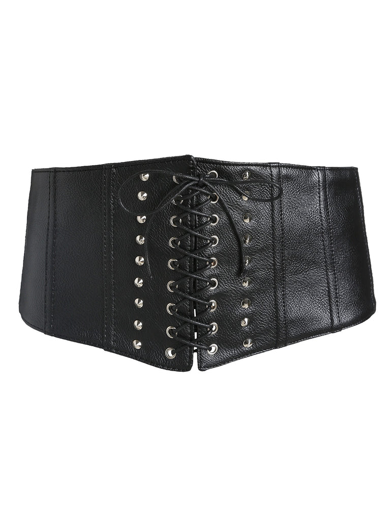 Black Studded Detail Lace Up Corset Belt