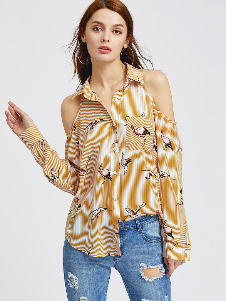 Striped Crane Print Cold Shoulder Shirt