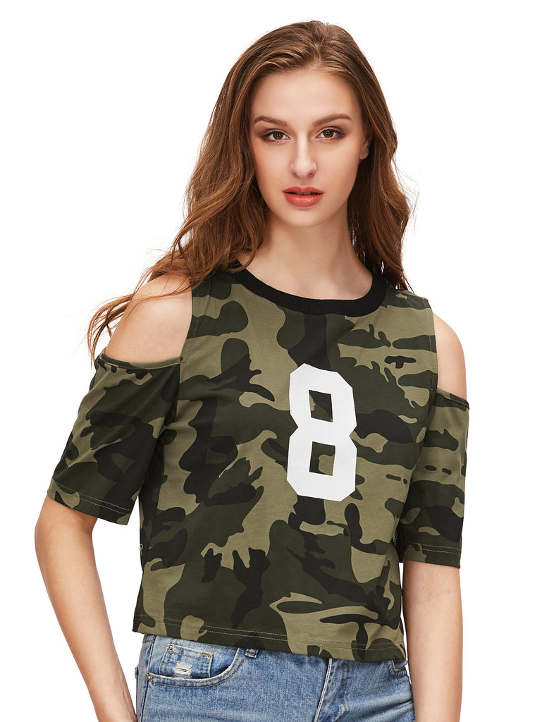 Olive Green Camo Print Open Shoulder T-shirt