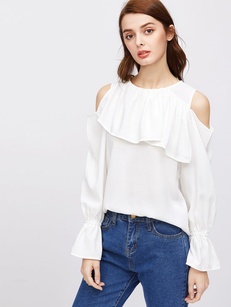 RZX Cold Shoulder Bell Cuff Frill Top