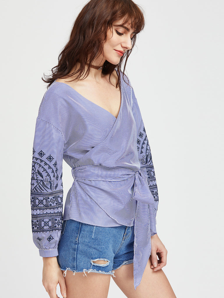 RZX Blue Embroidery Striped Wrap Blouse With Self Tie
