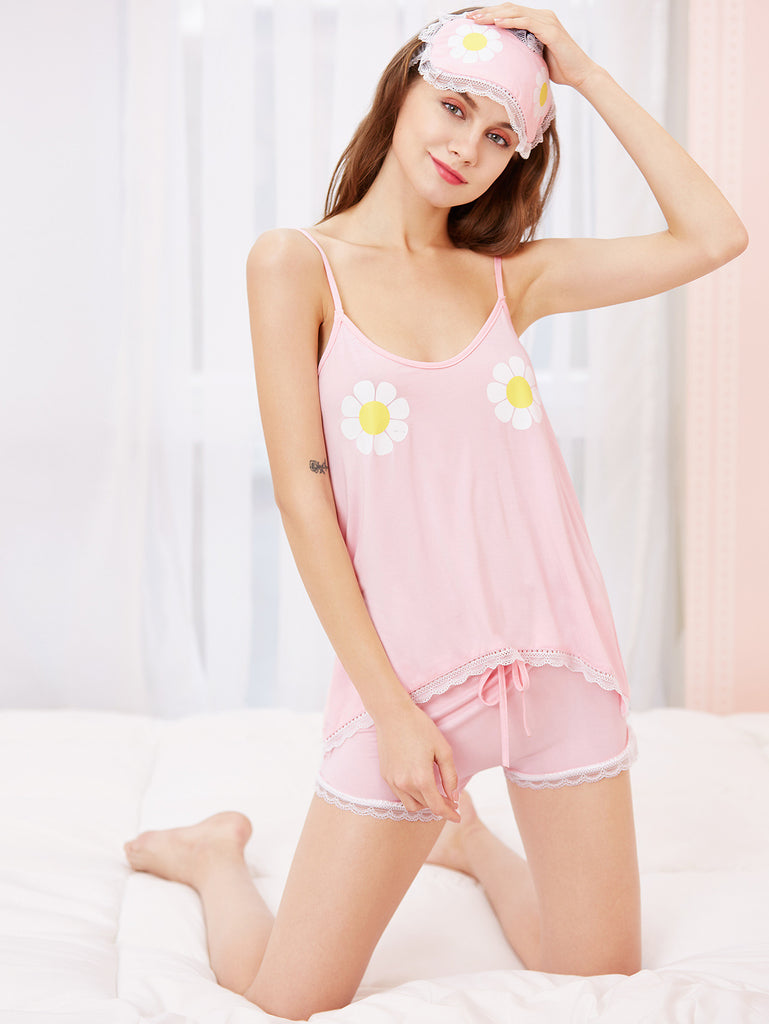 Florals Contrast Lace Cami Pajama Set With Eye Mask