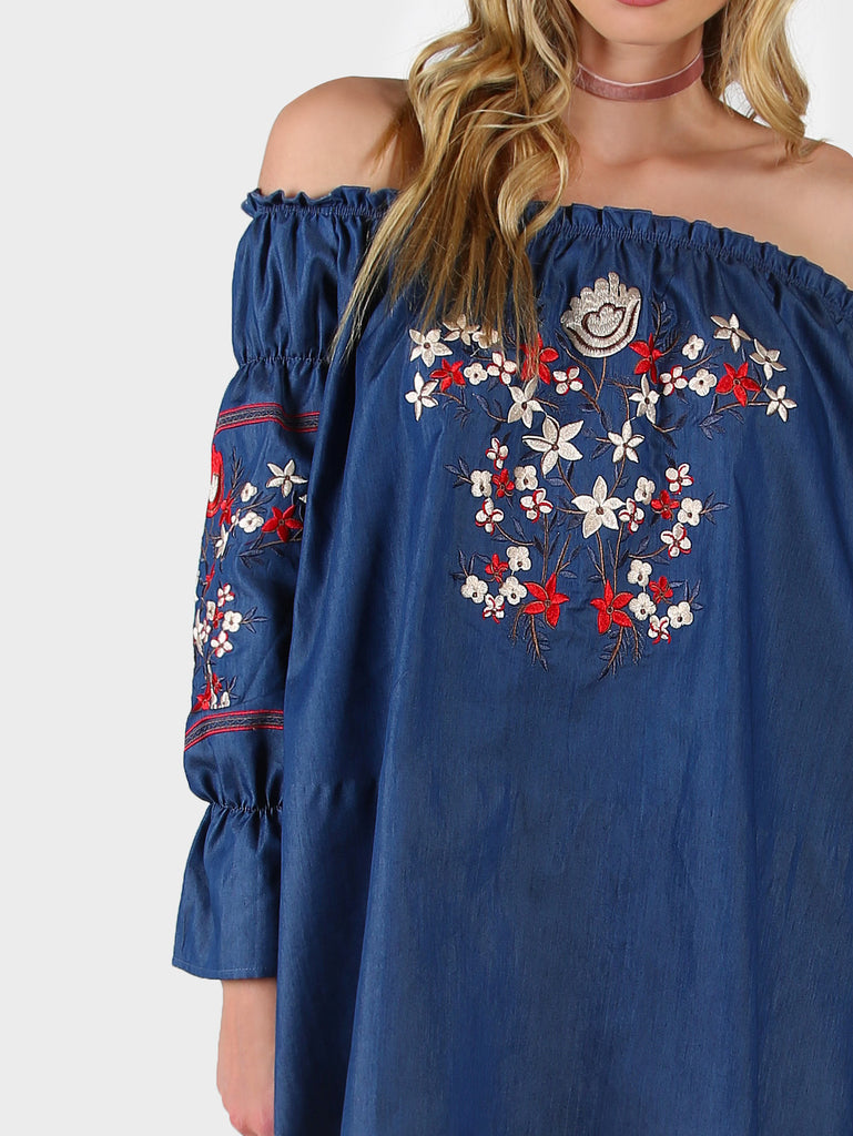 RZX Blue Off The Shoulder High Low Embroidered Chambray Dress